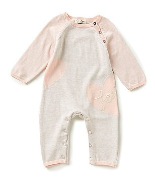 Jessica Simpson Baby Girls Newborn-9 Months Heart-Printed Sweater-Knit Coverall