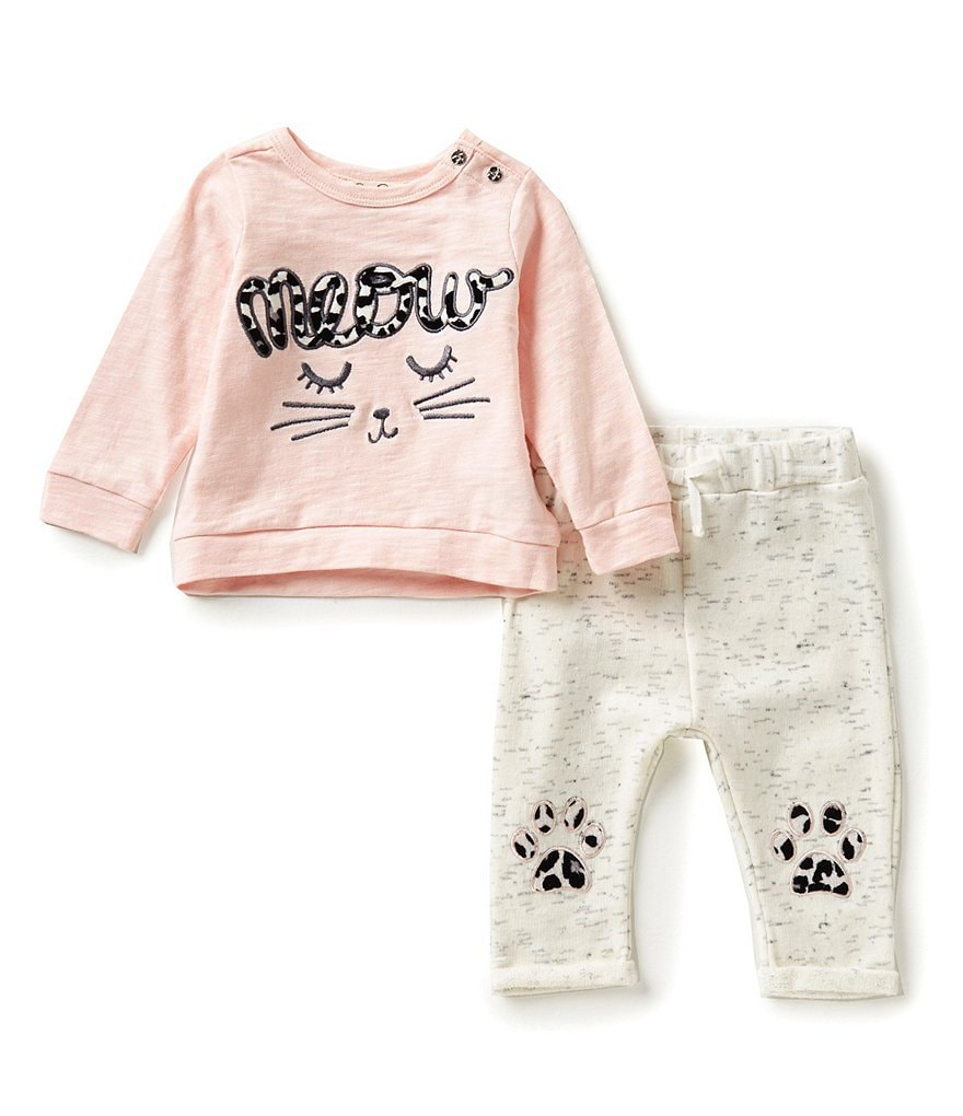 Jessica Simpson Baby Girls Newborn-9 Months Meow Tee & Pants Set
