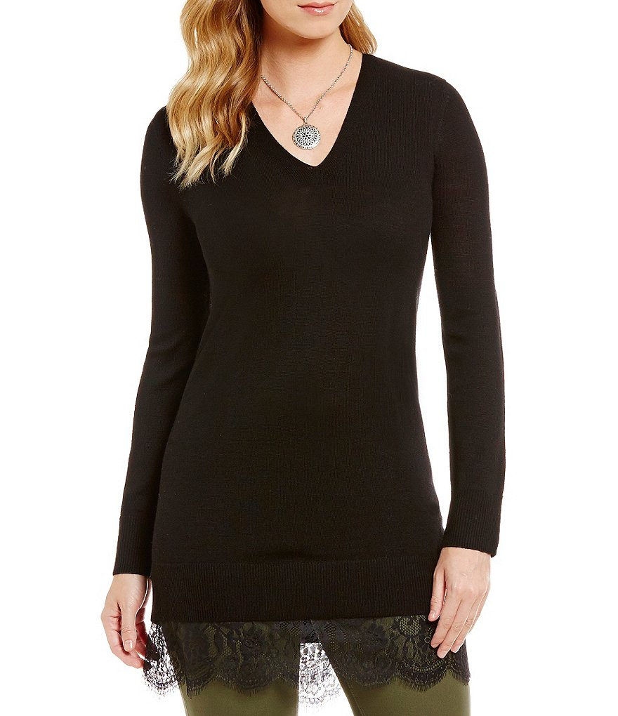 Cremieux Dylan Lace Hem V-Neck Sweater