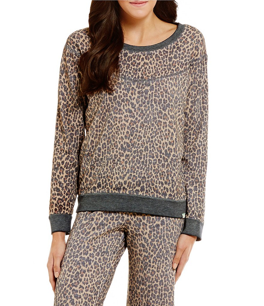 Honeydew Intimates Leopard-Print Burnout French Terry Lounge Sweatshirt