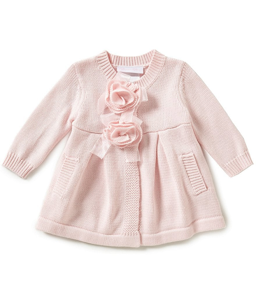 Bonnie Baby Girls Newborn-24 Months Lace-Flowers Sweater Coatigan
