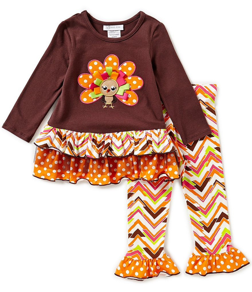 Bonnie Baby Baby Girls Newborn-24 Months Thanksgiving Turkey-Applique Top & Printed Leggings Set