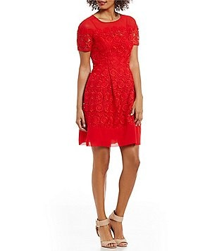 Anne Klein Illusion Neck Lace Fit-And-Flare Dress