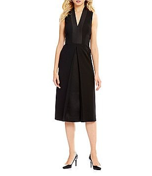 Anne Klein Satin Pleat Front Crepe Dress