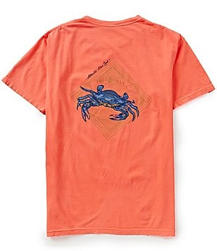 Fripp & Folly Men´s Blue Crab Short-Sleeve Graphic Pocket Tee