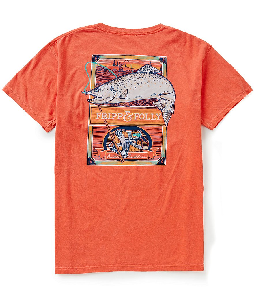 Fripp & Folly Men´s Trout Fishing Short-Sleeve Graphic Pocket Tee