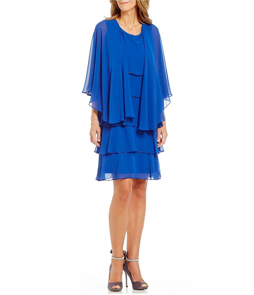 S.L.Fashions Beaded-Edge Tier Cape Jacket Dress