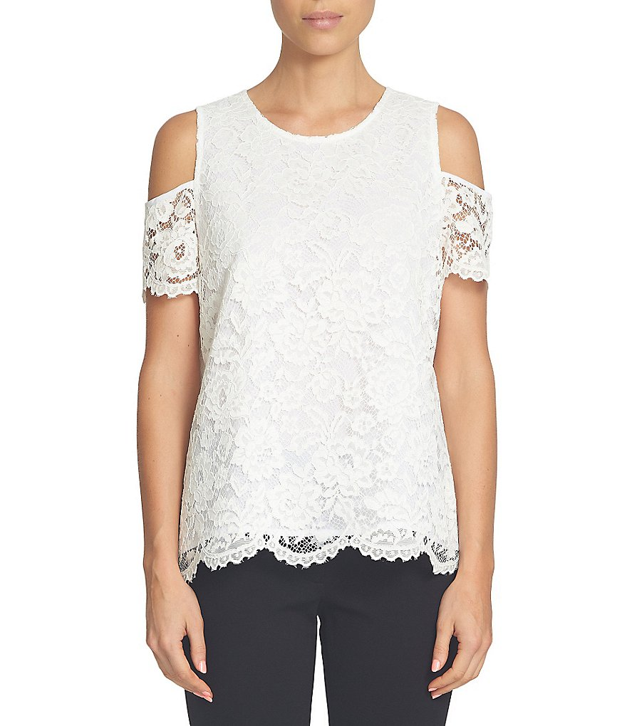Cece Scallop Lace Cold-Shoulder Blouse