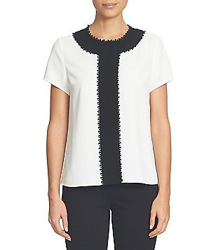 CeCe Colorblocked Bobble Trim Short Sleeve Blouse