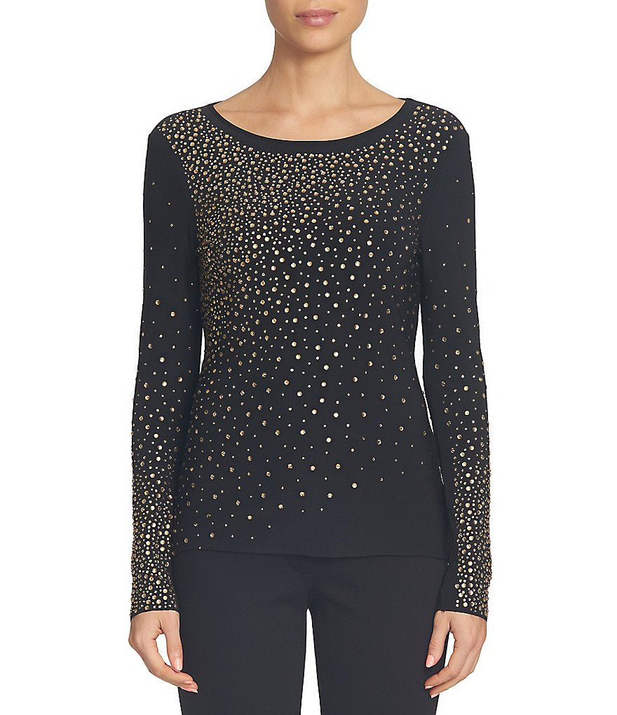 CeCe Ombre Embellished Knit Long Sleeve Top
