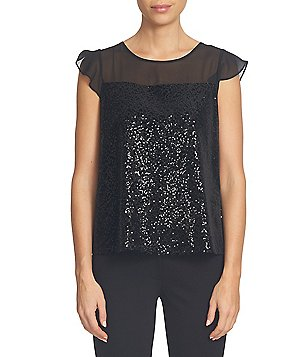 CeCe Sequin Velvet Sheer Short Flutter Sleeve Top
