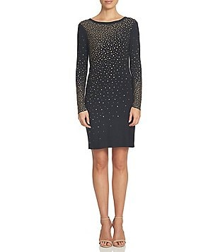 CeCe Ombre Embellished Knit Sheath Long Sleeve Dress