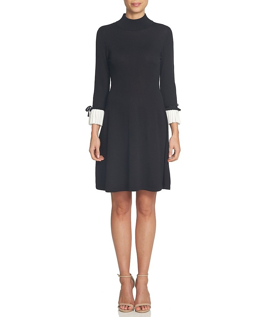 CeCe Bow Tie Pleated Cuff Mock Neck Knit Jersey Sweater Dress