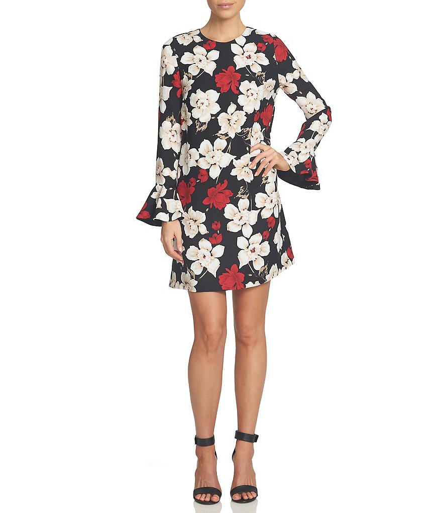 CeCe Cosmic Floral Ruffled Cuff Long Sleeve Shift Dress