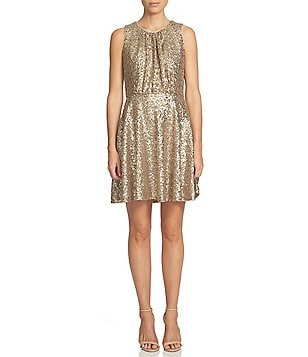 CeCe Sequin Mesh Fit and Flare Sleeveless Dress