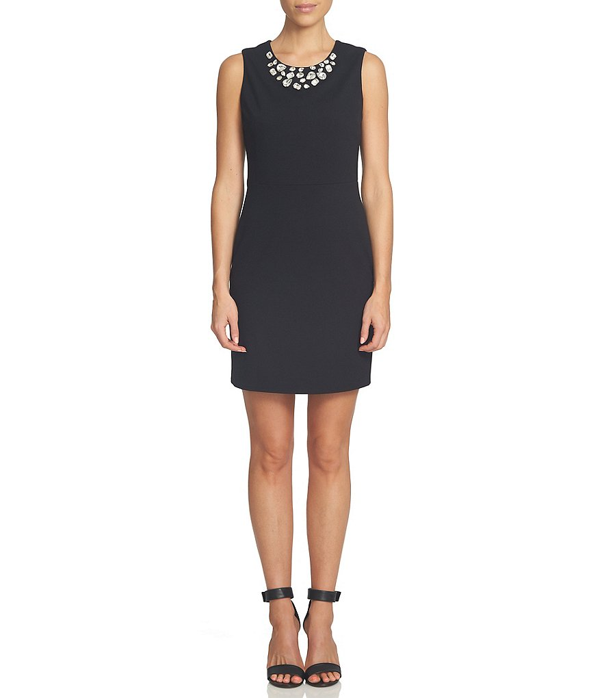 CeCe Embellished Ponte Sleeveless Sheath Dress