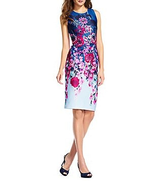 Adrianna Papell Crew Neck Sleeveless Floral Midi Scuba Knit Dress