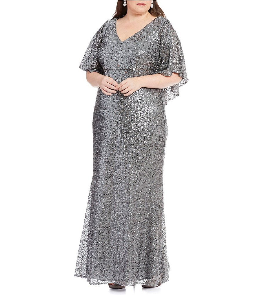 Ignite Evenings Plus V-Neck All Sequin Gown