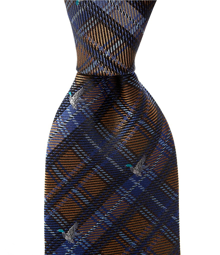 Cremieux Duck Print Plaid Traditional Silk Tie