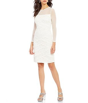 Adrianna Papell Crew Neck Long Sleeve Tiered Lace Sheath Dress