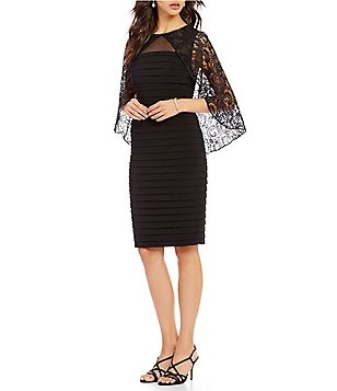 Adrianna Papell Square Neck Lace Caplet Banded Jersey Sheath Dress