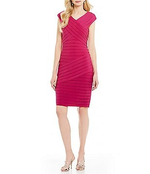 Adrianna Papell Matte Jersey Banded Portrait Collar Dress