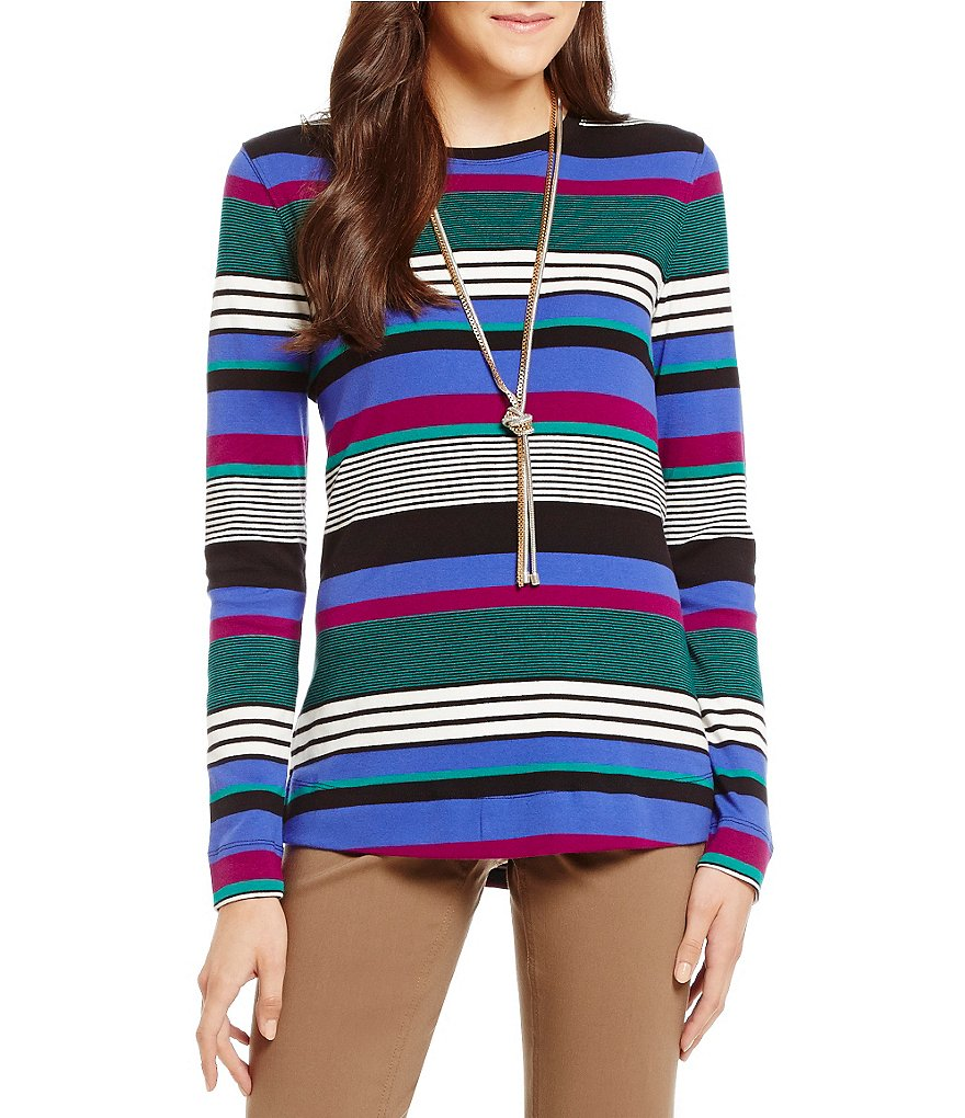 Westbound Rib Striped Crew Neck Long Sleeve Tee