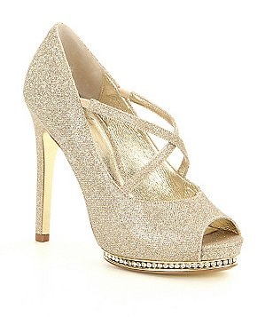 Adrianna Papell Golda Metallic Glitter Criss Cross Platform Pumps