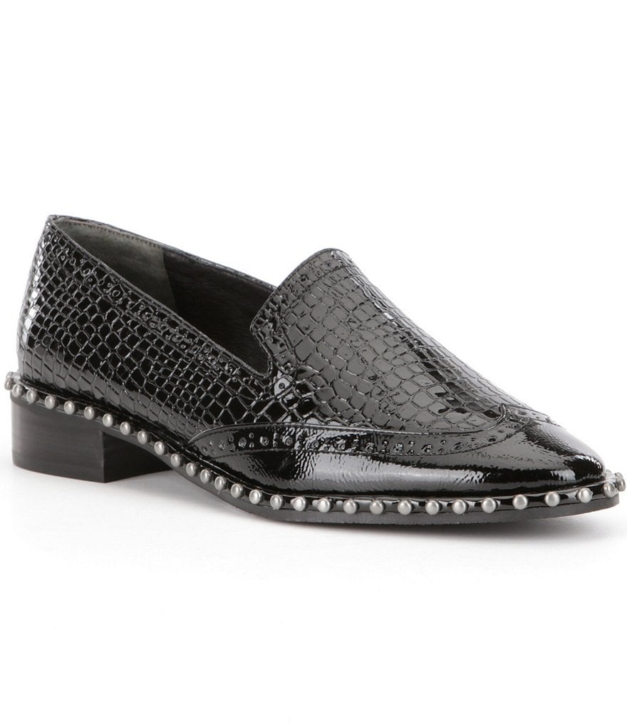 Adrianna Papell Paloma Patent Leather Croco Embossed Studded Loafers