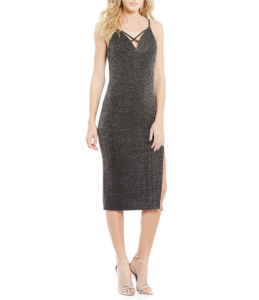 J.O.A. Deep V-Neck Sleeveless Sparkle Midi Dress