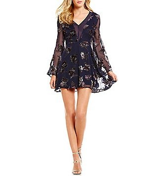 J.O.A. Long Bell Sleeve Floral Burnout Velvet Fit-and-Flare Dress