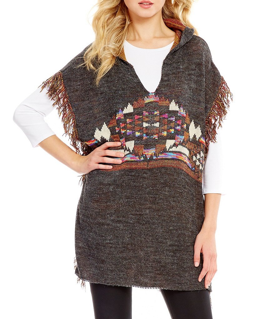 ELAN Tribal Fringe V-Neck Hoodie Poncho Sweater