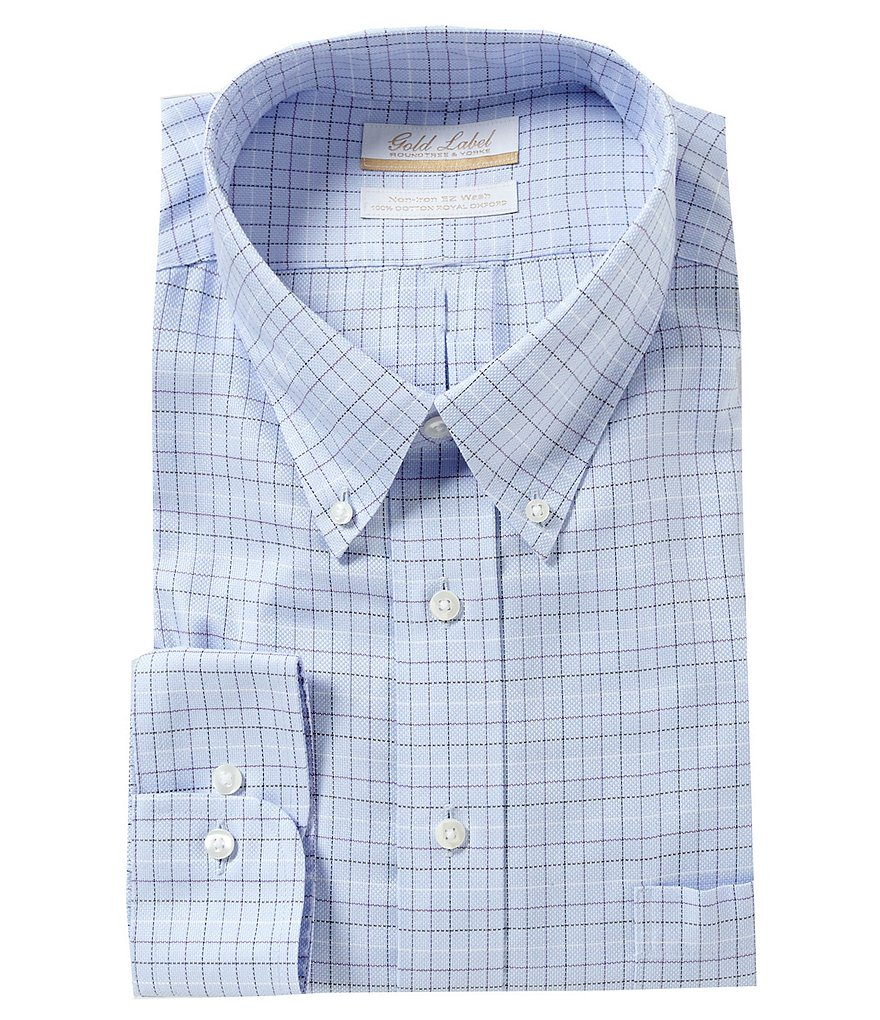 Gold Label Roundtree & Yorke Big & Tall Full-Fit Non-Iron Checked Royal Oxford Dress Shirt