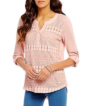 Multiples Roll-Tab Sleeve Solid Lace Knit Top