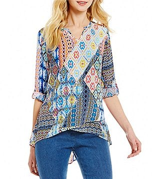 Ruby Rd. 3/4 Roll-Tab Sleeve Printed Crepe Top