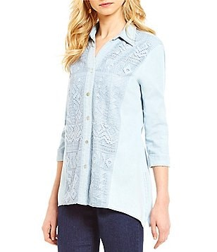 Ruby Rd. Boyfriend Shirt Collar 3/4 Sleeve Sharkbite Hem Chambray Tunic