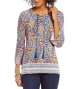 Ruby Rd. Lace-Up Neck 3/4 Bell Sleeve Stitched Diamond Border Print Knit Top
