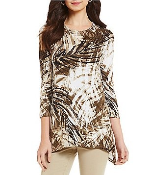 Ruby Rd. Scoop Neck 3/4 Sleeve Sharkbite Hemline Printed Knit Top