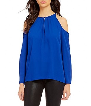 1. State Split Neck Cold-Shoulder Long Sleeve Blouse