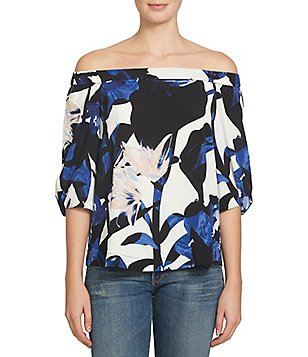 1. State Off-the-Shoulder 3/4 Knot Sleeve Floral Print Blouse
