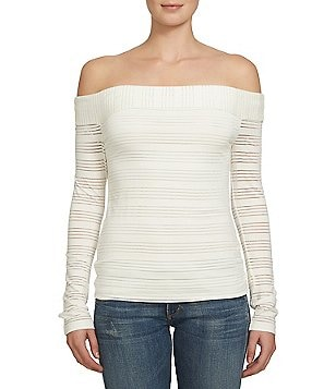 1. State Off-the-Shoulder Long Sleeve Sheer Stripe Top