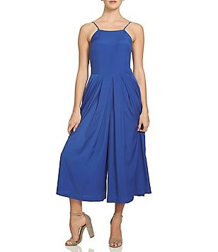 1. STATE Crepe Pleated-Front Halter Sleeveless Capri Jumpsuit