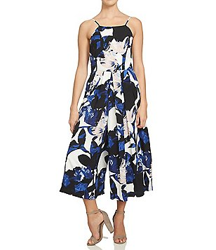 1. STATE Crepe Floral Pleated-Front Halter Neck Sleeveless Capri Jumpsuit