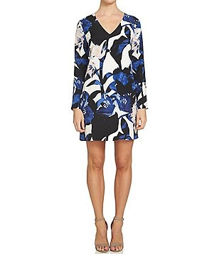 1. State V-Neck Long Sleeve Double Bar Back Floral Sheath Dress