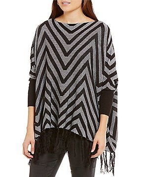ELAN Chevron Stripe Fringe Sweater
