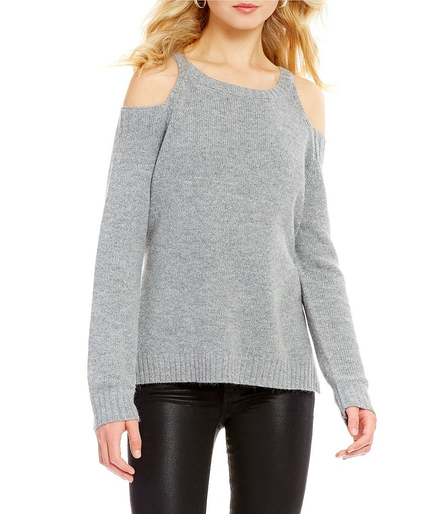 ELAN Round Neck Long Sleeve Cold-Shoulder Solid Sweater