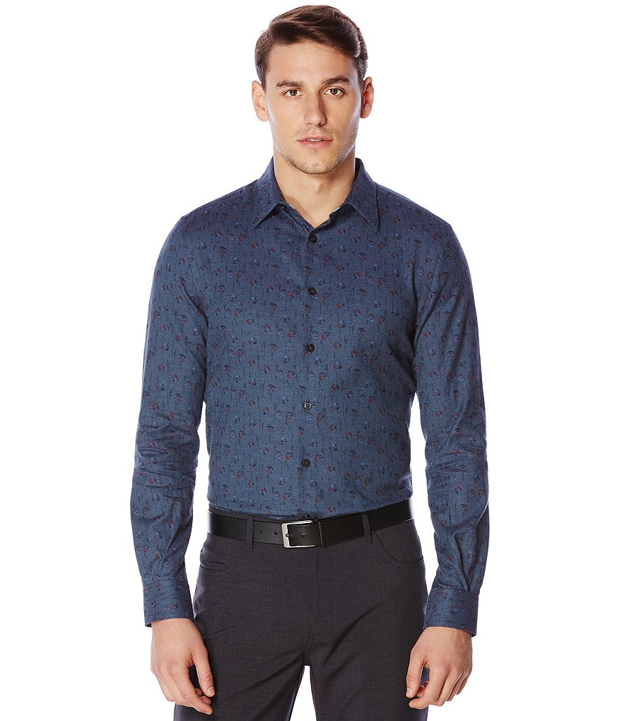 Perry Ellis Floral Print Long-Sleeve Woven Shirt