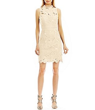 Nicole Miller New York Mock-Neck Embroidered Lace Dress