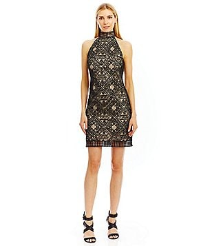 Nicole Miller New York Lace Mock Neck Cocktail Sheath Dress