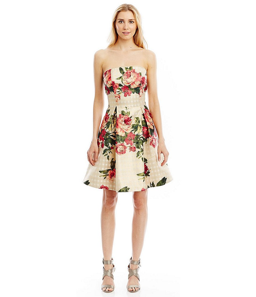 Nicole Miller New York Floral Printed Jacquard Strapless Dress